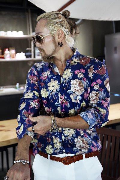 Big Floral Pattern Charming Wide Collar Shirts