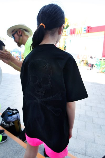ByTheR Kids Black Calf Hair Skeleton Skull T-shirt
