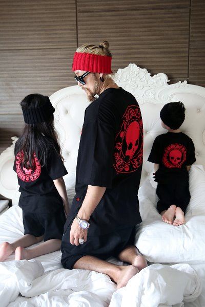 ByTheR Kids Red Skull Logo Embossed T-shirt