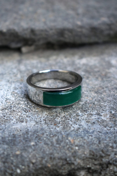 Green Square Gemstone Round Ring