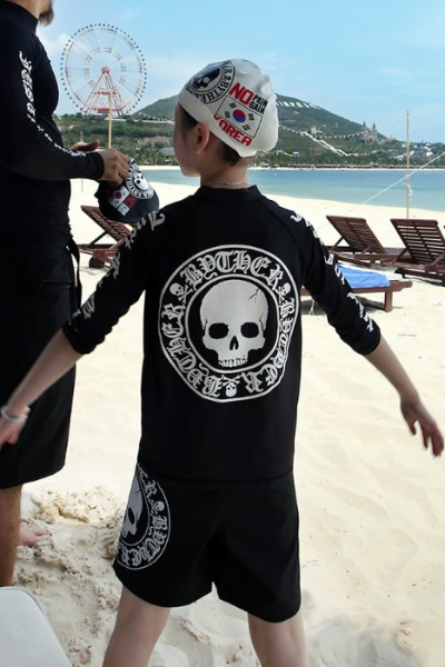 ByTheR Kids Skull Logo Printing Black Rash Guard