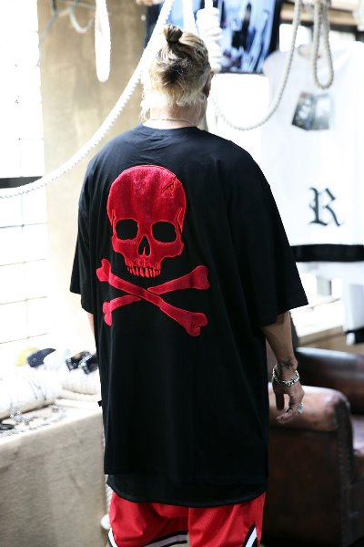 ByTheR Red Embroidered Skull Logo T-shirt