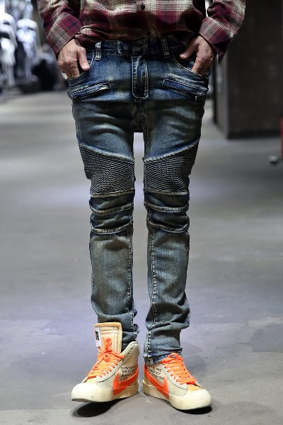Heavy Washed Biker Jean