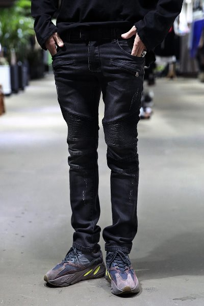 Washing Biker Black Jean
