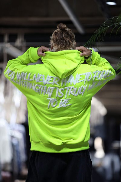 Tough Lettering Batwing Sleeves Boxy Fit Hoodie