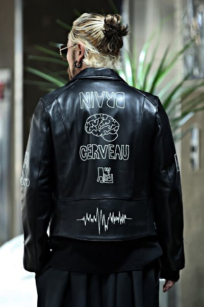 Brain Graffiti Lambskin Rider Jacket
