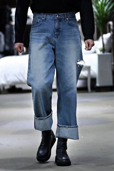 Side Cut Out Wide Denim Pants Jeans