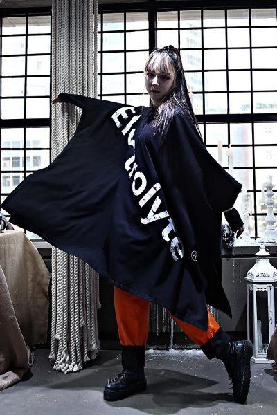 Big Lettering Loose Fit Hooded Poncho