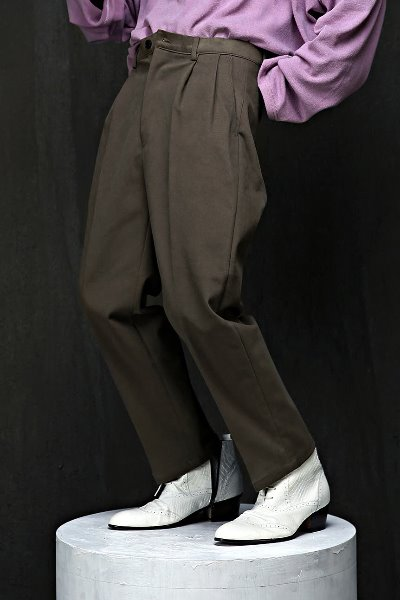 Two Pintuck Baggy Cotton Pants