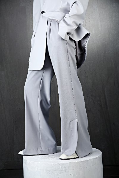 Side Slit Wide Banding Slacks