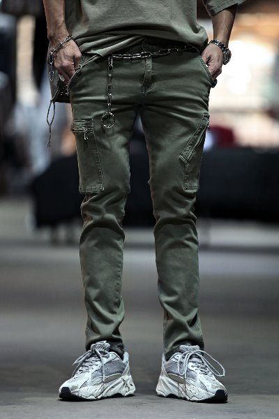 Unbalanced Zipper Cargo Pockets Pants
