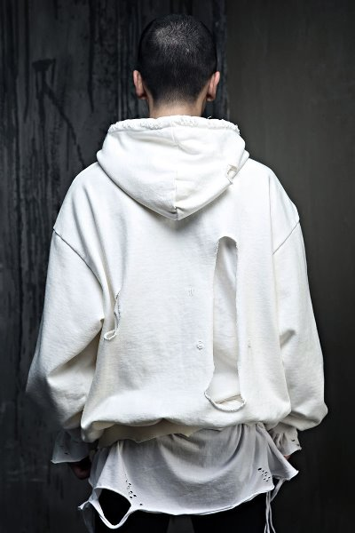Hard Damaged Layered Relaxed Fit Hooded Sweatshirt