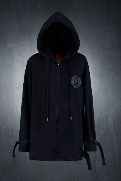 ByTheR Webbing Strap Loose Fit Zip-up Hoodie