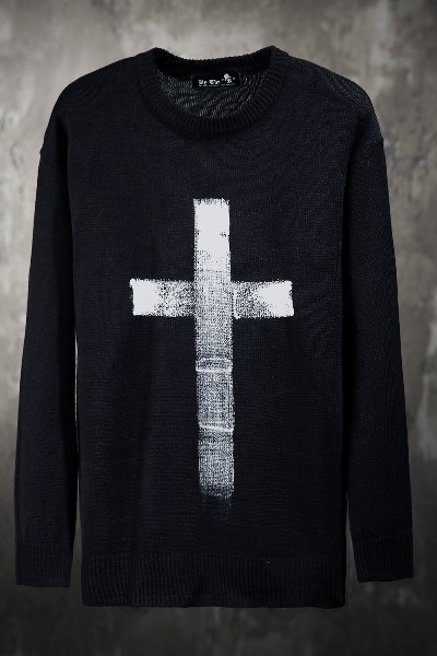 ByTheR Custom Cross Hand Painted Knit Sweater