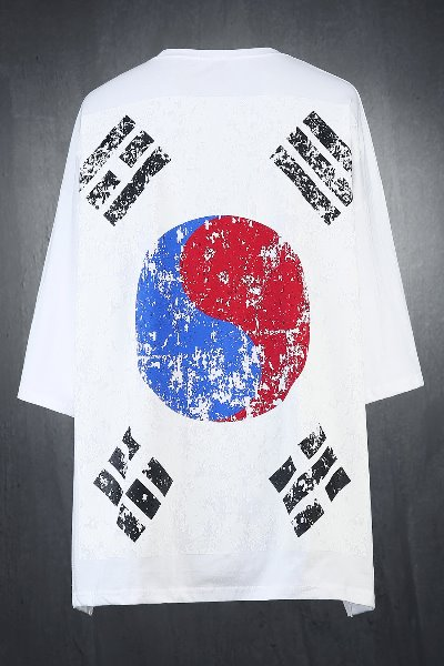 ByTheR Korea Taegeukgi Flag Loose Fit Short Sleeve Tee White