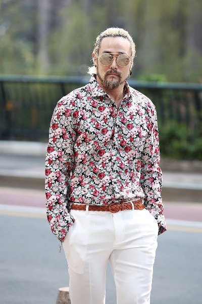 Rose Floral Pattern Charming Wide Collar Shirts