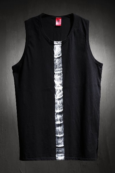 ByTheR Custom Center Brush Painting Long Layered Tank Top Black
