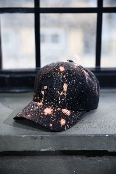 ByTheR Custom Dot Bleach Skull Logo Patch Cotton Ball Cap Black