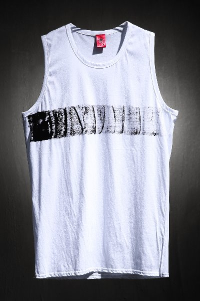 ByTheR Center Horizontal Painting Long Layered Tank Top White