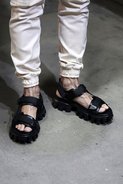 All black rubber sole webbing velcro leather sandals