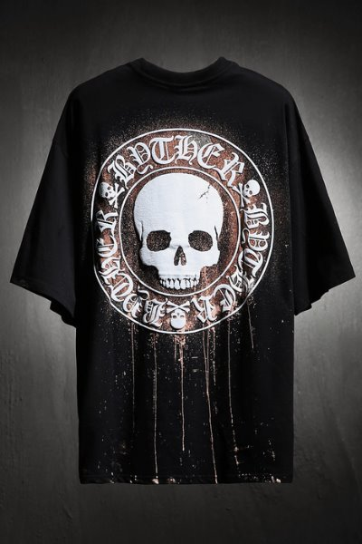 ByTheR Custom Dripping Bleach Skull Logo Embossed Loose Fit T-Shirt Black