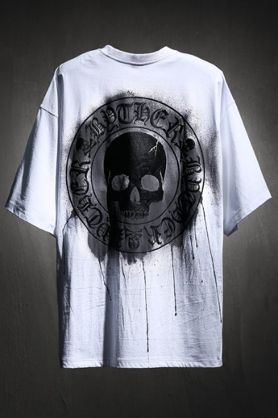 ByTheR Custom Dripping Painting Skull Logo Embossed Loose Fit T-Shirt White