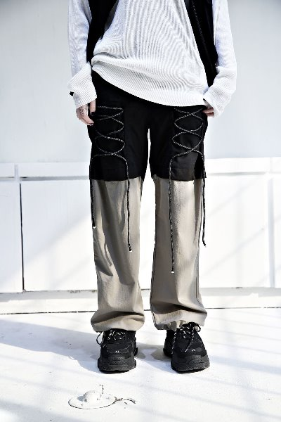 Front string half color banding pants
