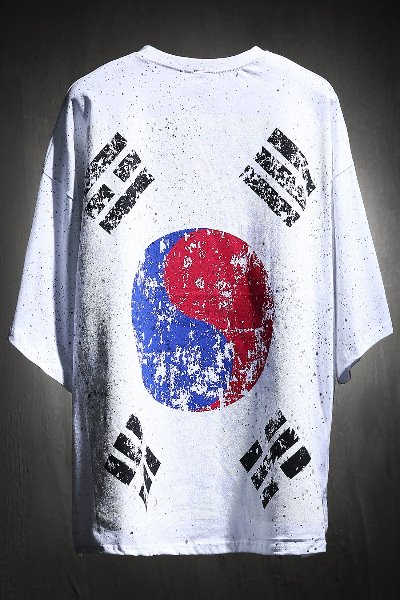 ByTheR Custom Dot Painting Korea Taegeukgi Short Sleeve Tee White