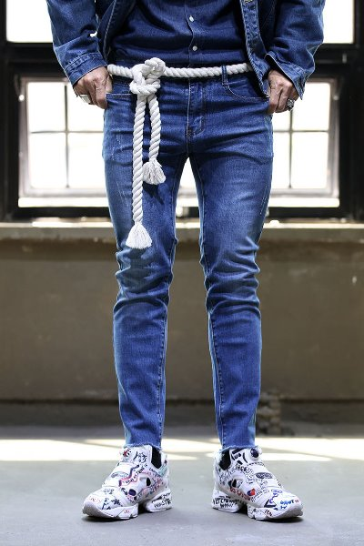Washed Slim Denim Trousers