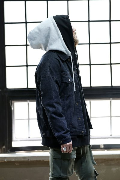 Hooded Detachable Overfit Blue Jacket