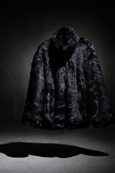 Mukha loose fit fur jacket black