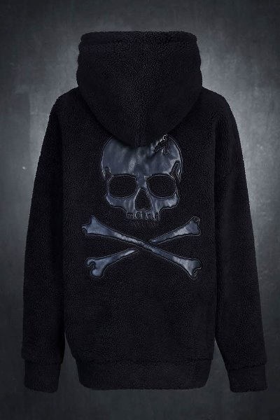 ByTheR Leather Skull Loose Fit Fleece Hoodie