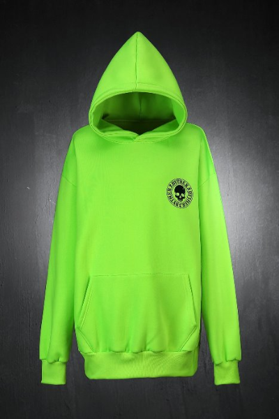 ByTheR Loose Fit Skull Logo Brushed Hoodie Lime