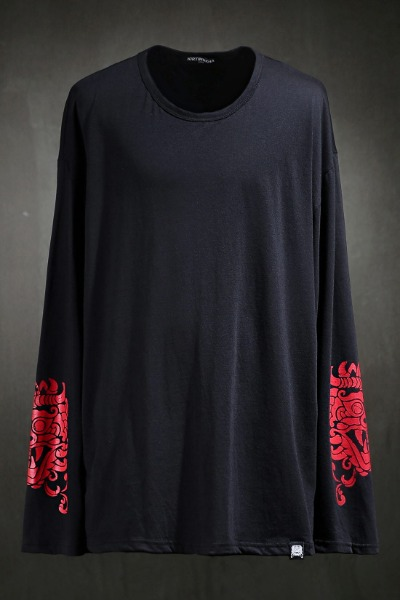 Mukha Sleeve Print Long Sleeve Red