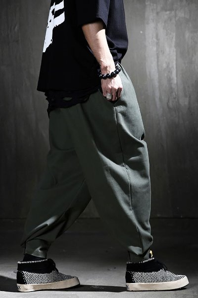Velcro-cotton wide-hem trousers
