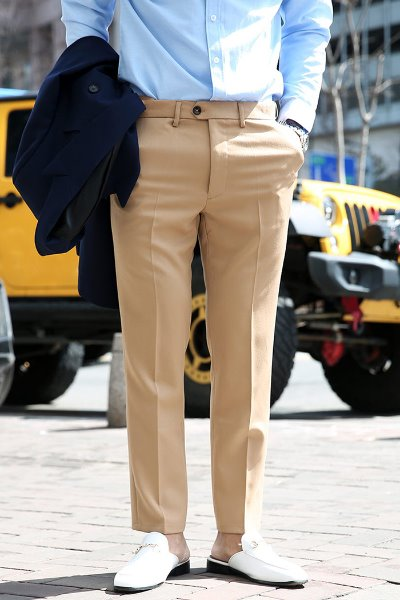 Basic Wrinkle Free Hidden Banding Slacks(Short & Long)
