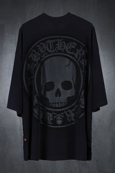 ByTheR Cool Spandex Light Skull Logo Printing T-Shirt