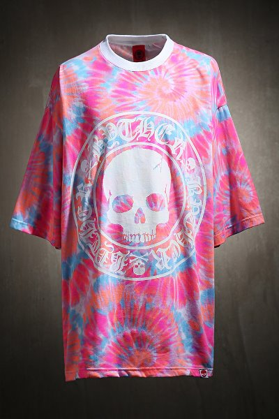 ByTheR front skull logo tie-dye short-sleeved tee
